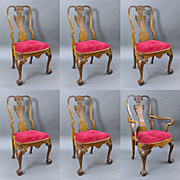 Set of 6 Early 20th c. Carved Walnut Dining Chairs