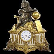 Antique 19th c. Bronze & Marble Ormolu Mantle Clock