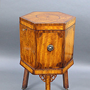 Fine Early 19th c. Sheraton Style Inlaid Wine Cooler Cellaret