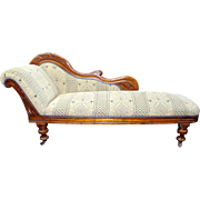 Antique Victorian Carved Walnut Upholstered Chaise Longue