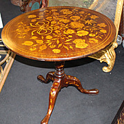 Antique Marquetry Tripod Tilt-top Circular Occasional Table