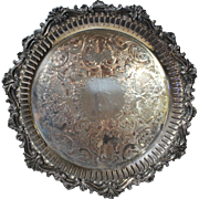 Heavy Ornate Engraved Antique Silver Plated on Copper Charger Tray