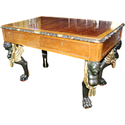 Handsome Antique Writing Table Desk Carved Monopodium Legs