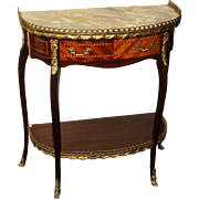 Marble Topped Brass Galleried Inlaid Mahogany Side Table by Epstein of London
