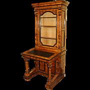 Fine Victorian Burr Walnut Bookcase Davenport c.1840