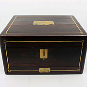 Fine Antique Regency Ladies Writing Box Rosewood Brass Inlay Secret Drawer