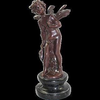 Classical Style Bronze Cherub on Marble Base Statue