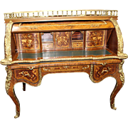 Impressive Heavily Inlaid Louis XV Style Cylinder Fronted Desk