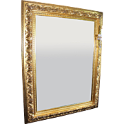 Very Large Heavy Carved Giltwood Bevel Edged Mirror