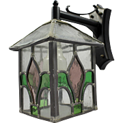 Leaded Stained Glass Wall Lantern on Bracket