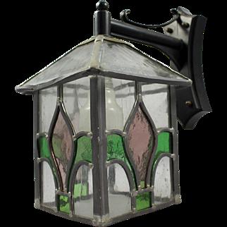 Leaded Stained Glass Wall Lantern on Bracket