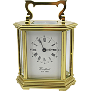Woodford England Hexagonal Gold Plated Mechanical Carriage Clock