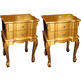 Pair of French Style Gilt Lacquered Bedside Cabinets Nightstands