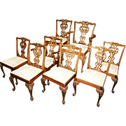 Set of 8 Quality Chippendale Style Dining Chairs