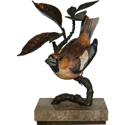 """Albany """"Hawfinch"""" Limited Edition Porcelain on Bronze Bird"""