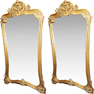 Fine Pair of Hand Carved Gilt Louis XV Style Mirrors