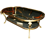Heavy Brass & Bevelled Glass Coffee Table