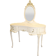 Louis XV Style Kidney Shaped Maple Dressing Table & Mirror