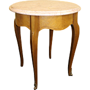 Round Occasional Marble Topped Satinwood Table