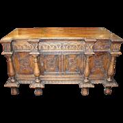 Fine English Antique Carved Oak Coffer Chest