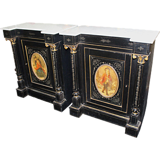 Pair of 19th c. Ebonized Marble Topped Inverted Breakfront Side Cabinets