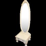Olympus Louis XV Style Painted Cream Cheval Mirror