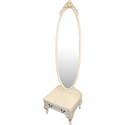 Olympus Louis XV Style Painted Cream Cheval Mirror