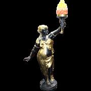 Bronze & Brass Antique Style Torch Bearer Maiden Standard Lamp