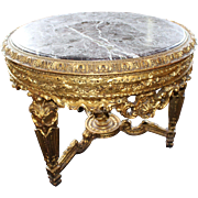 Ornate Marble Topped Carved Giltwood Centre Table