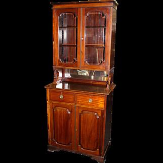 Solid Mahogany Glazed Bookcase Cupboard