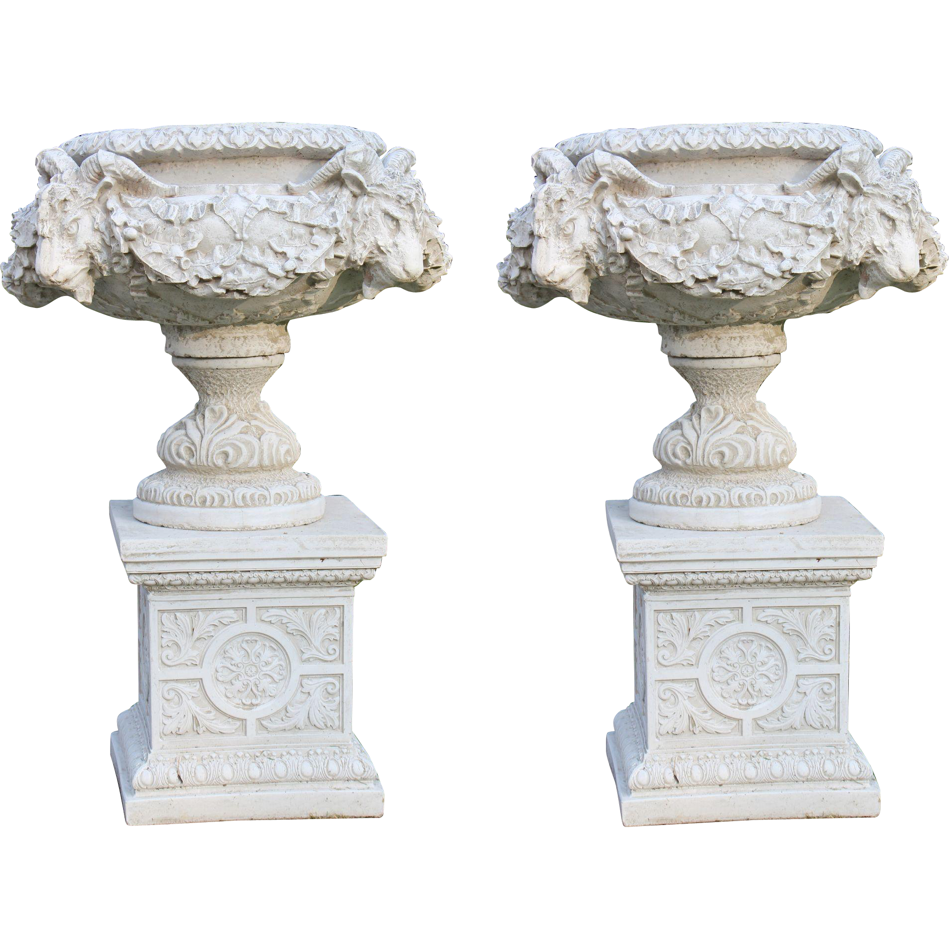 Pair of Heavy Composite Stone Classical Style Garden Urns from