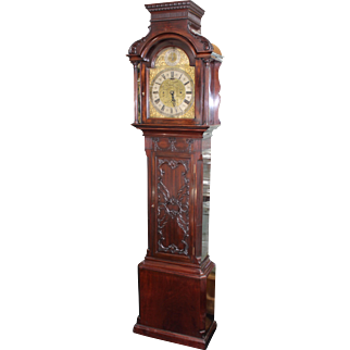 Fine Edwardian Mahogany Fusee Eight-Day Longcase Clock with Brass Silvered Dial
