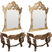 Pair of Carved Giltwood Marble Topped Console Tables with Mirrors