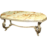 Heavy Brass Coffee Table with Onyx Top