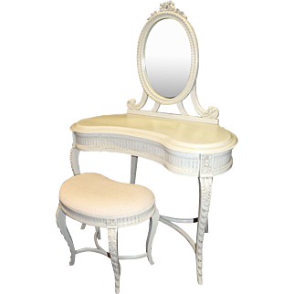 French Painted Carved Wood Kidney Shaped Dressing Table with Mirror & Stool