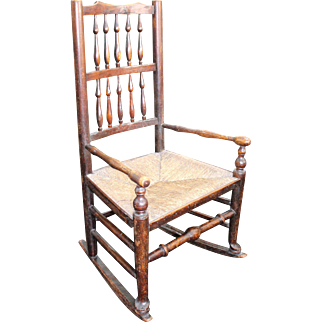 Antique Elm Spindle Back Childs Rocking Chair with Rushed Seat