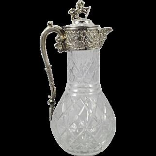 Quality Cut Glass Crystal & Silver Plated Claret Jug