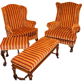 Fine Newly Upholstered 4 Piece Drawing Room Armchair Suite
