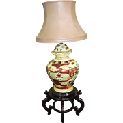 Chinese Porcelain Floor Lamp with Shade on Carved Wood Stand