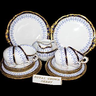 Royal Crown Derby White, Blue & Gold Antique Tea Service 1913