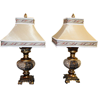 Pair of Gilt Decorated Designer Table Lamps with Shades