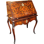 Elegant 19th c. Inlaid Rosewood & Amboyna Desk Bureau