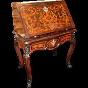 Elegant 19th c. Inlaid Rosewood & Amboyna Desk Bureau