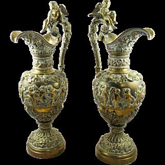 Pair of Antique Ormolu Brass Greco-Roman Style Ewers