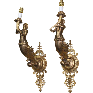 Pair of French Bronze Ormolu Wall Lights Signed F.Barbedienne