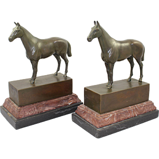 Pair of Bronze & Marble Horse Bookends