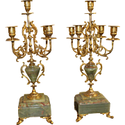 Pair of Handsome 19th c. Ormolu & Marble Candelabras