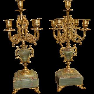 Pair of Handsome 19th c. Ormolu & Marble Candelabras