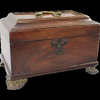 Georgian Mahogany Caddy Writing Box on Brass Feet