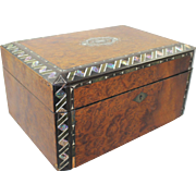 Victorian Inlaid Amboyna Mother of Pearl Sewing Box